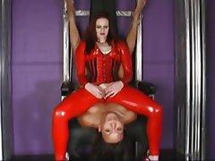 BDSM Interracial Lesbian Redhead Strapon
