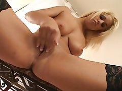 Babe Blonde Masturbation Stockings